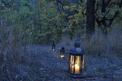 Lantern in the dark Stock Images