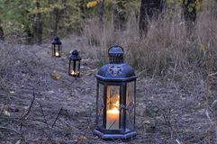 Lantern in the dark Royalty Free Stock Images
