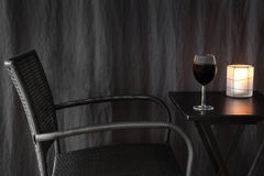 Lantern decorating a table with glass of wine Royalty Free Stock Photography