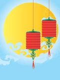 Lantern decoration. Illustration lantern sky moon cloud decor blue background royalty free illustration