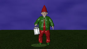 Lantern dwarf. Garden dwarf with luminous lantern at dawn. 3d illustration stock illustration