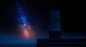 Lantern in enter to the sea and milky way. Europe Royalty Free Stock Photo