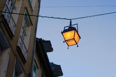 Lantern in european alley streetlight stock photo