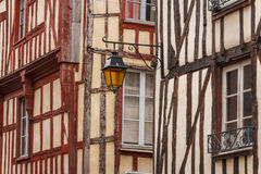 Lantern on the facade of the half-timbered house in Dinan Royalty Free Stock Photography
