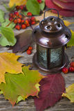 Lantern and fall leaves Stock Photography