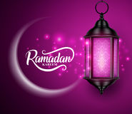 Lantern or fanous hanging with crescent moon and lights for ramadan kareem vector. Greetings design in purple background. Vector illustration Royalty Free Stock Images