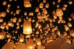 Lantern Festival, Loi Krathong, Chiang Mai, Thailand Stock Photos