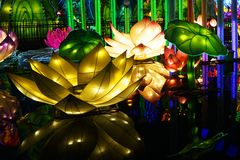 Lantern Festival in Zigong, China. Lanterns, also known as flower lanterns, is a popular traditional Chinese folk arts and crafts as New Year celebration royalty free stock image
