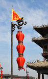Lantern and Flag on Xian City Wall and Buildings Royalty Free Stock Photo