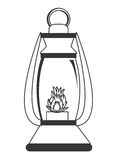 Lantern with flame , graphic Royalty Free Stock Photography