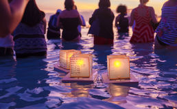 Lantern Floating Festival. Toro Nagashi or Lantern Floating Festival in  Ala Moana Beach Honolulu, Hawaii to honor deceased loved ones Royalty Free Stock Image