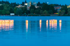 Lantern floating on green lake park for memorial of Hiroshima,Wa,usa.. Stock Photo