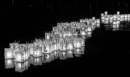 Lantern floating on green lake park for memorial of Hiroshima,Wa,usa.. Royalty Free Stock Images