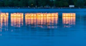 Lantern floating on green lake park for memorial of Hiroshima,Wa,usa.. Stock Photos