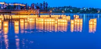 Lantern floating on green lake park for memorial of Hiroshima,Wa,usa.. Royalty Free Stock Photo