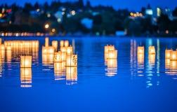 Lantern floating on green lake park for memorial of Hiroshima,Wa,usa.. Royalty Free Stock Photos