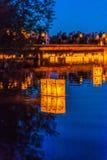 Lantern floating on green lake park for memorial of Hiroshima,Wa,usa.. Stock Photography