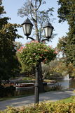 Lantern and flowers in summer park Royalty Free Stock Photography