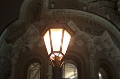 Lantern in front of The Church of the Savior on Spilled Blood in Saint Petersburg. Winer. Travel. royalty free stock image
