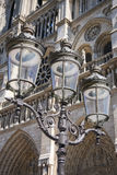 Lantern in front of Notre-Dame cathedral. In Paris, France Royalty Free Stock Photos