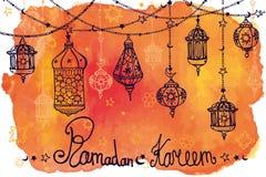 Lantern garland of Ramadan Kareem.Doodle.Watercolor orange splas Royalty Free Stock Image