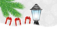 Lantern and gifts with the branches of fir-tree on to snow. Vector  illustration Royalty Free Stock Photography