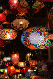 Lantern at the Gran Bazaar of Istanbul. A glass handmade lantern shop in the famous Gran Bazaar of Istanbul. Exposition of different colours and fantasies stock photos