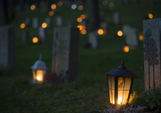 Lantern on grave Stock Images