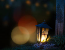 Lantern on grave Stock Image