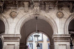 Lantern hanging at an arch of a building. Barcelona, Catalonia, Spaincolor image, canon 5DmkII Stock Image