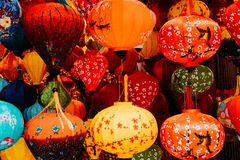 Lantern in Hanoi to buy from a vendor. Very colorful made lanterns. royalty free stock photography