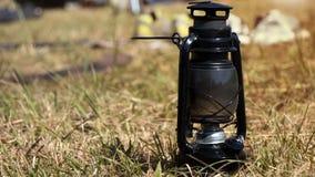 Lantern On the hay grass royalty free stock photo