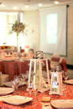 Lantern with heather on a decorated table. Lanterns with heather on a decorated table Royalty Free Stock Images