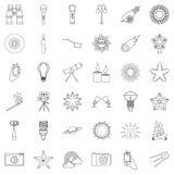 Lantern icons set, outline style. Lantern icons set. Outline style of 36 lantern vector icons for web isolated on white background Royalty Free Stock Photography