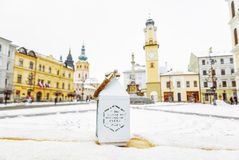 Lantern with inscription - do what you love everyday. SNP square in Banska Bystrica, Slovak republic. Winter scene. Travel. Destination. Yellow photo filter stock images