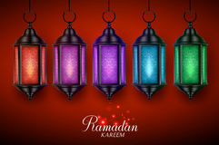 Lantern lamp or fanous vector set with colorful lights hanging for ramadan. Lantern lamp or fanous vector set with colorful lights hanging in red dark background Stock Photography