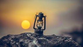 Lantern Lamp On Stone At Dawn stock images