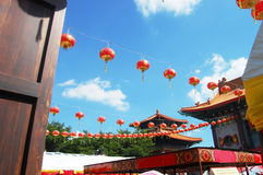 Lantern or lamp traditional lighting in Chinese temple Royalty Free Stock Photo