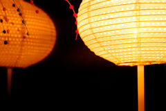 Lantern light at night and reflect effect of the mirror with abstract black background. Royalty Free Stock Image