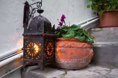 Lantern light with a pot Stock Photography