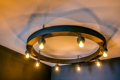 Lantern light on the roof light with classic design royalty free stock photography