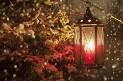 Lantern with lighting candle in snowfall Royalty Free Stock Photography