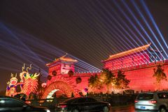 Lantern and lighting show at south gate of ancient city wall for celebrate Chinese spring festival,xi`an, shaanxi, china royalty free stock photo