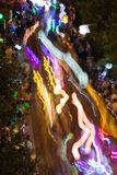 Lantern Lights Motion Blur In Eclectic Atlanta Night Parade Stock Photos