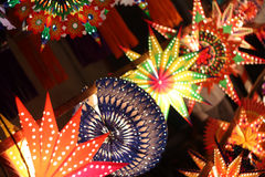 Lantern Line. A line of different lanterns for sale in India on the festive occasion of Diwali Royalty Free Stock Image