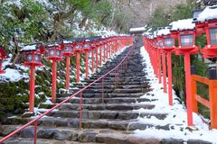 The lantern-lined steps in winter Stock Images