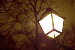 Lantern lit up at night. In the park Stock Photography