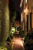 Lantern lit walk ways in Charleston SC. Lantern lit walkways in Charleston South Carolina at night Stock Images