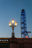 Lantern and London Eye at dusk Royalty Free Stock Photo