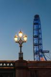 Lantern and London Eye at dusk Royalty Free Stock Photo